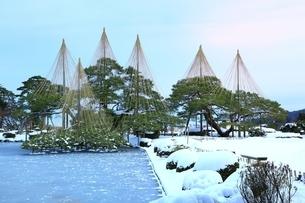 雪の兼六園 唐崎松と霞ヶ池の写真素材 [FYI01818160]