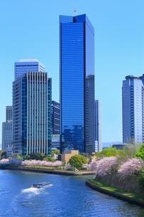 桜咲く大阪ビジネスパークとアクアライナーの写真素材 [FYI01818192]