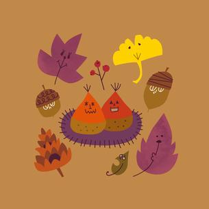 クリやドングリや葉っぱや木の実のイラスト素材 [FYI01819402]