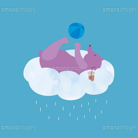 雨雲の上でボール遊びをしながら休憩するクマのイラスト素材 [FYI01819403]