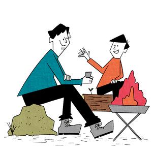 焚火を囲んで語り合う父と息子のイラスト素材 [FYI01819449]