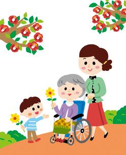 車いすに乗ったおばあちゃんと家族のイラスト素材 [FYI01819473]