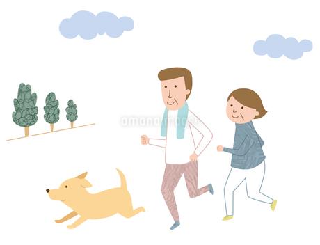 犬と一緒にジョギングをするシニア夫婦のイラスト素材 [FYI01819485]