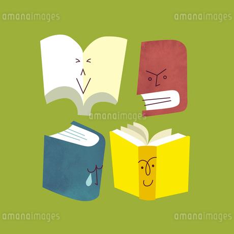 喜怒哀楽の感情が出ている本たちのイラスト素材 [FYI01819503]