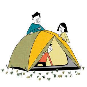 初めてのテントにはしゃぐ子供のイラスト素材 [FYI01819519]