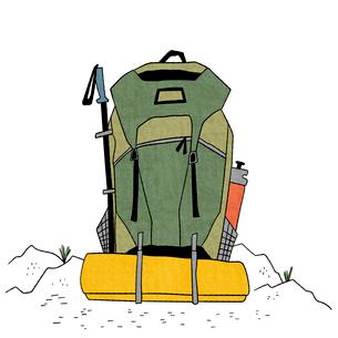 登山グッズがたくさん入ったパックパックのイラスト素材 [FYI01819523]