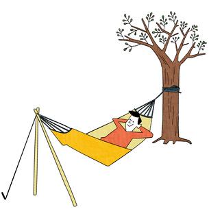 ゆらゆら揺れるハンモックでお昼寝のイラスト素材 [FYI01819567]