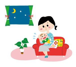 泣き止まない赤ちゃんと困ったママのイラスト素材 [FYI01819641]