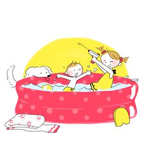 プールで水遊びする子供たちのイラスト素材 [FYI01819657]
