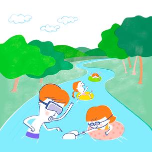 魚を探したり浮き輪に乗ったり川遊びをする家族のイラスト素材 [FYI01819679]