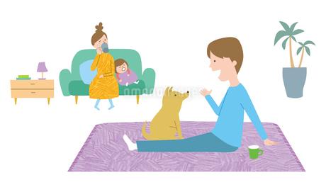 リビングでくつろぐ家族とペットのイラスト素材 [FYI01819683]