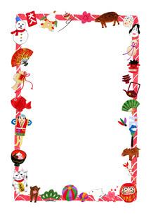賑やかなお正月_赤のイラスト素材 [FYI01819701]