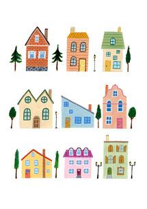 色々な窓のある色々な家のイラスト素材 [FYI01819703]