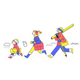 冬のレジャーに出発する家族のイラスト素材 [FYI01819741]