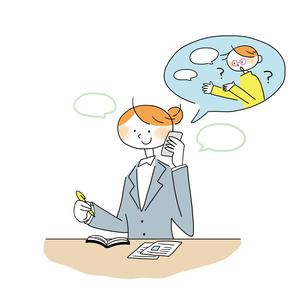 電話で得意先からの相談を受ける女性営業のイラスト素材 [FYI01819746]