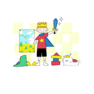 勇者ごっこで遊ぶ子供とイヌのイラスト素材 [FYI01819754]