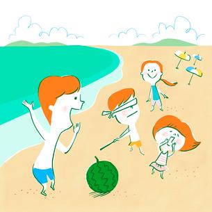 ビーチでスイカ割りを楽しむ家族のイラスト素材 [FYI01819758]