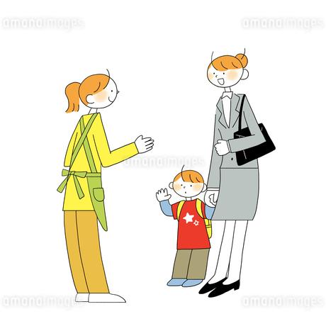 子供を送り迎えする女性営業のイラスト素材 [FYI01819781]