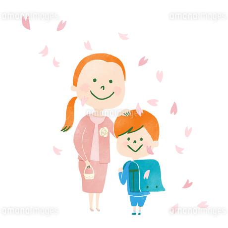 桜舞い散るなか入学式に記念撮影する母と子のイラスト素材 [FYI01819782]