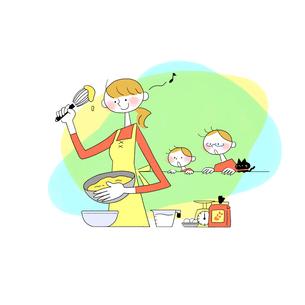 キッチンで料理する母親を見ている父親と息子とネコのイラスト素材 [FYI01819789]
