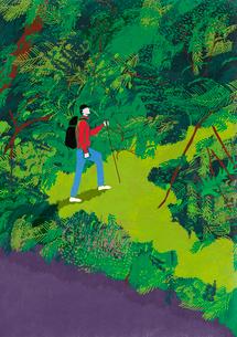 ジャングルの中を探検する男性のイラスト素材 [FYI01819798]