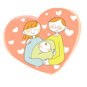 赤ちゃんを抱く夫婦のイラスト素材 [FYI01819801]