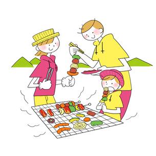 夏に山でバーベキューする家族のイラスト素材 [FYI01819803]