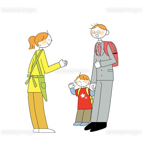 子供を送り迎えする男性営業のイラスト素材 [FYI01819805]