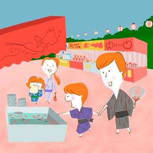 浴衣で夏祭りを楽しむ家族のイラスト素材 [FYI01819807]
