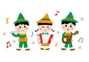 楽器を演奏する子供たちのイラスト素材 [FYI01819813]