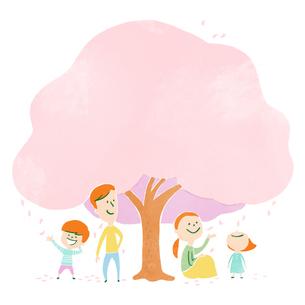 大きな桜の木の下でくつろぐ家族のイラスト素材 [FYI01819831]