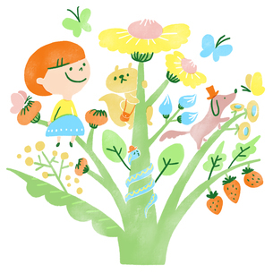 蝶々が集まる植物でのんびり遊ぶ子供と動物たちのイラスト素材 [FYI01819833]