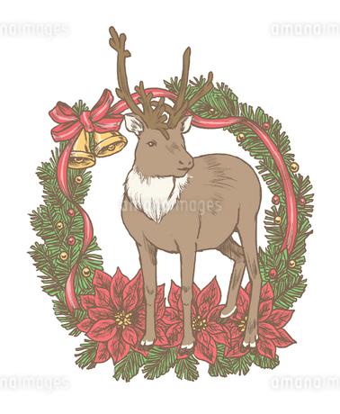 クリスマスリースとトナカイのイラスト素材 [FYI01819836]
