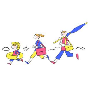 夏のレジャーに出発する家族のイラスト素材 [FYI01819842]