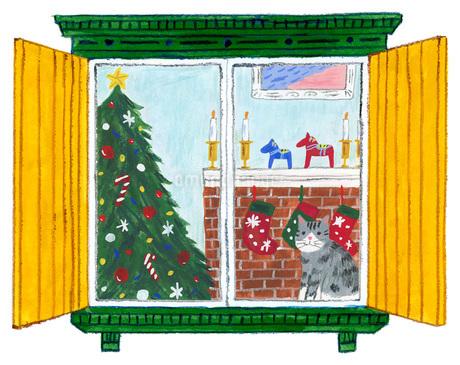 猫と窓とクリスマスのイラスト素材 [FYI01819849]