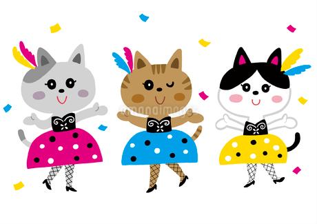オシャレでセクシーなネコ三匹のイラスト素材 [FYI01819860]