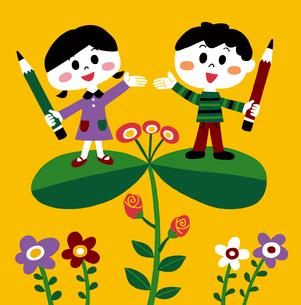 鉛筆を持った男の子と女の子のイラスト素材 [FYI01819861]
