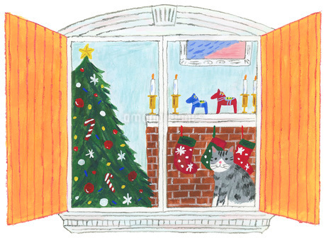 猫と窓とクリスマスのイラスト素材 [FYI01819874]