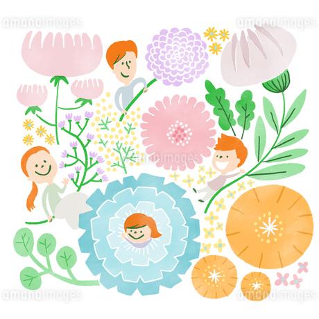 たくさんの花に囲まれてたわむれる家族のイラスト素材 [FYI01819891]