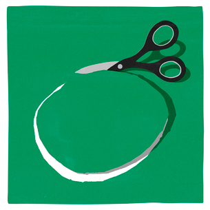 紙を丸く切るハサミのイラスト素材 [FYI01819911]