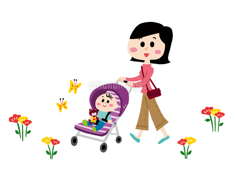 ベビーカーでお散歩をする赤ちゃんとママのイラスト素材 [FYI01819913]