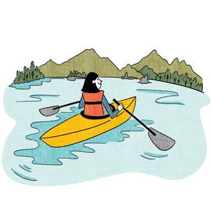 湖でカヌーを漕ぐ女性のイラスト素材 [FYI01819916]