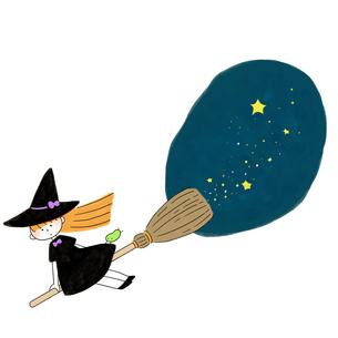 ホウキで空を飛ぶ魔女と星空のイラスト素材 [FYI01819935]