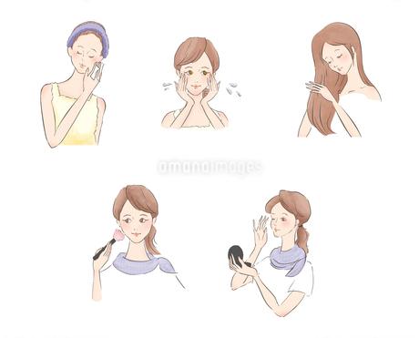 化粧とスキンケアをする女性のイラスト素材 [FYI01819949]
