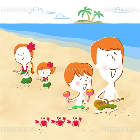 ビーチで歌い踊りバカンスを満喫する家族のイラスト素材 [FYI01819952]