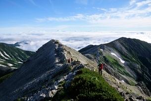 白馬岳稜線から望む馬の背と小蓮華山の写真素材 [FYI01819969]