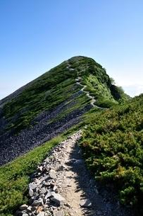 船越ノ頭に続く小蓮華山の稜線の写真素材 [FYI01819977]