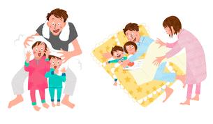 お風呂上がりの子供の髪を拭いてあげるパパと添い寝をするパパのイラスト素材 [FYI01819986]