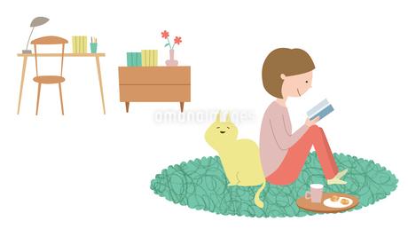 部屋でくつろぎながら本を読む女性と背中にくっつく猫のイラスト素材 [FYI01819993]