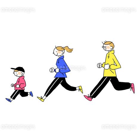 マラソンする家族のイラスト素材 [FYI01820017]